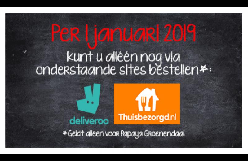 Per 1 januari 2019 bezorgt Groenendaal alléén via Deliveroo & Thuisbezorgd.nl
